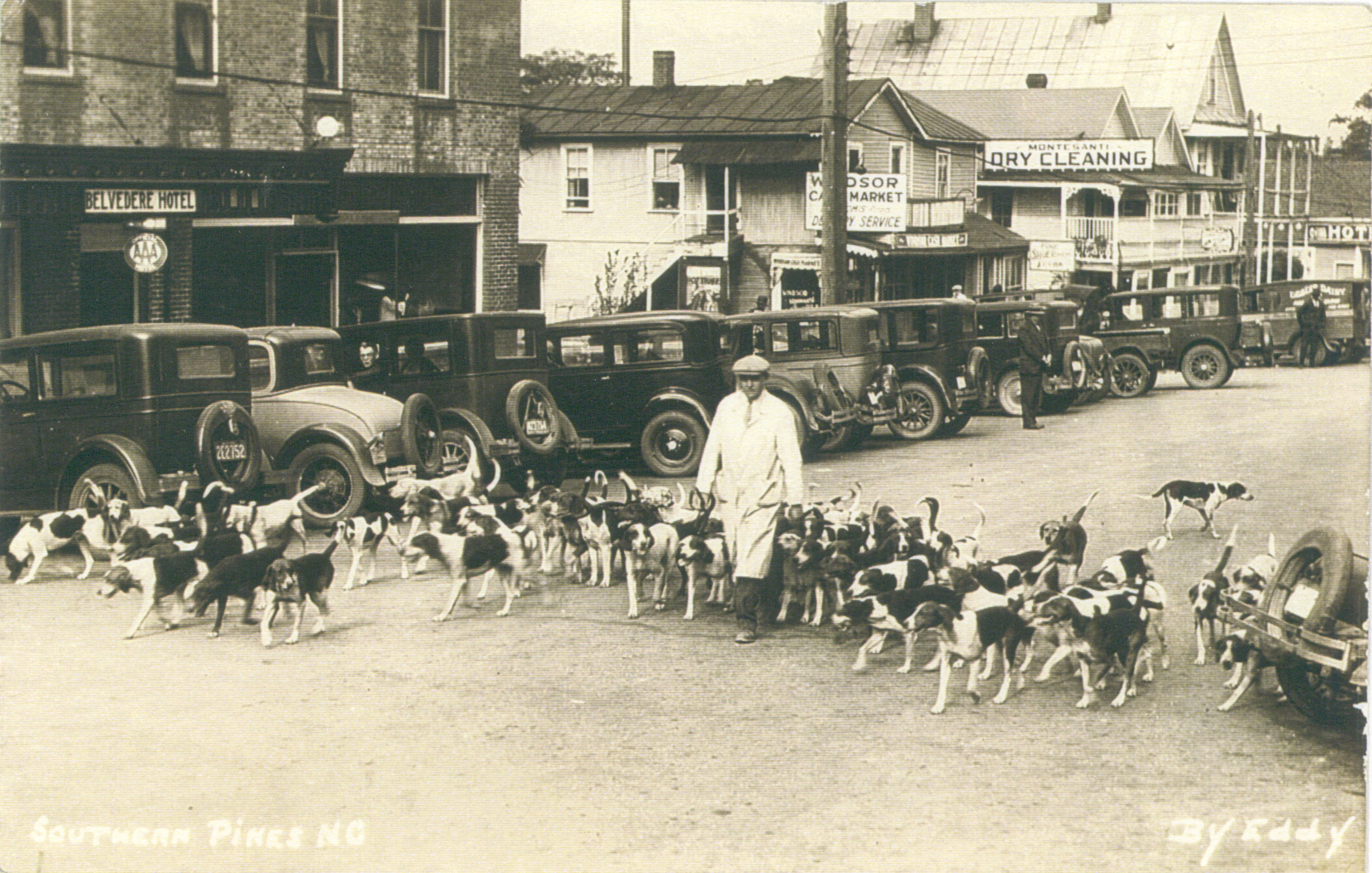 "A hunstman ""roading"" the Moore County Hounds near the entrance to the Belvedere Hotel on Pennsylvania Avenue in the late 1920s, a tradition that continues today."